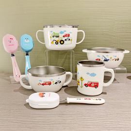 韩国原装进口 卡通汽车图案304不锈钢碗叉勺水杯儿童宝宝餐具