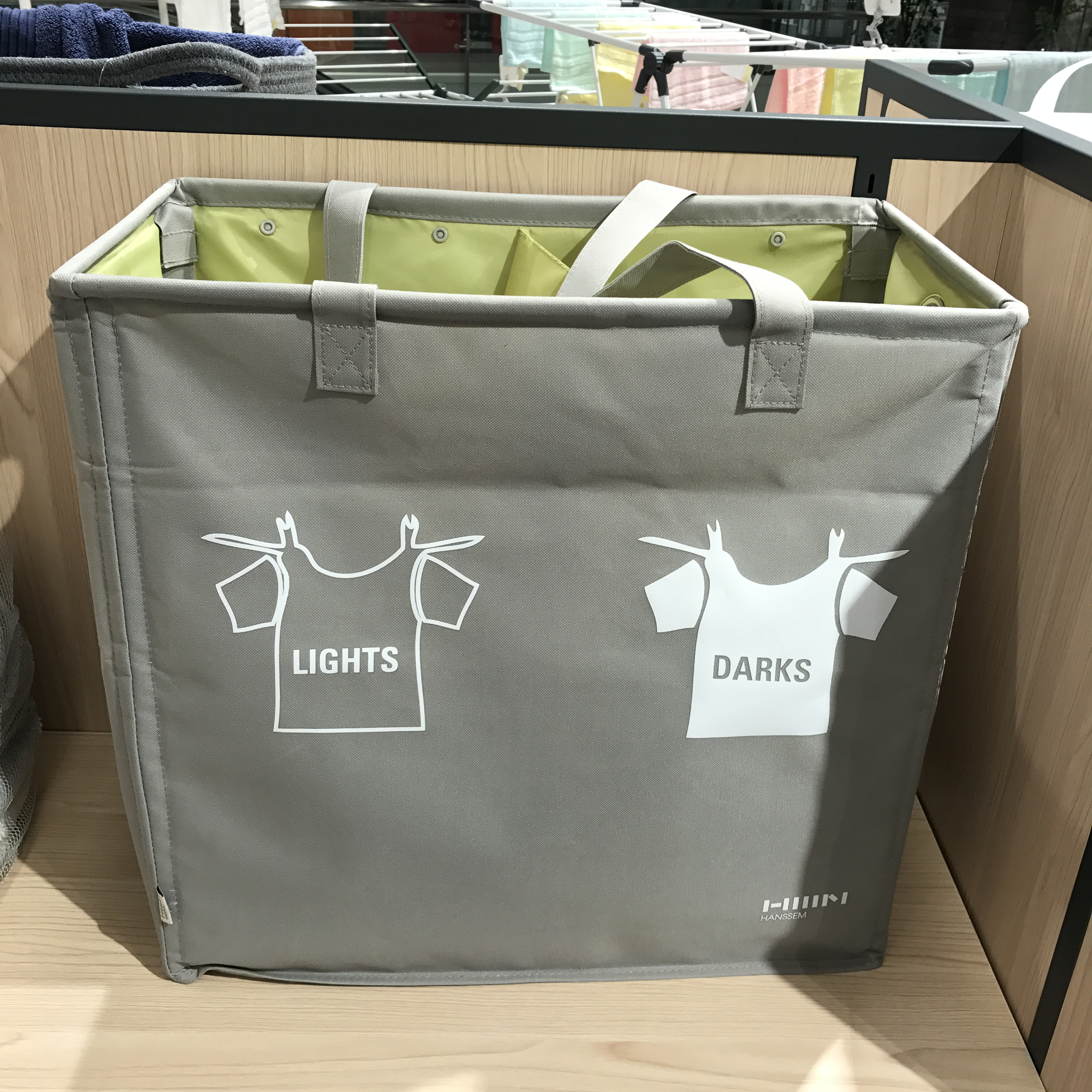 韩国HANSSEM汉森精选 牛津布双格可折叠洗衣篮可手拎脏衣篮收纳篮