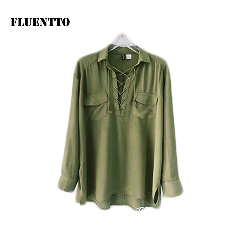 Export casual womens shirt collar rope Bohemian style long sleeve shirt army green top loose new products versatile