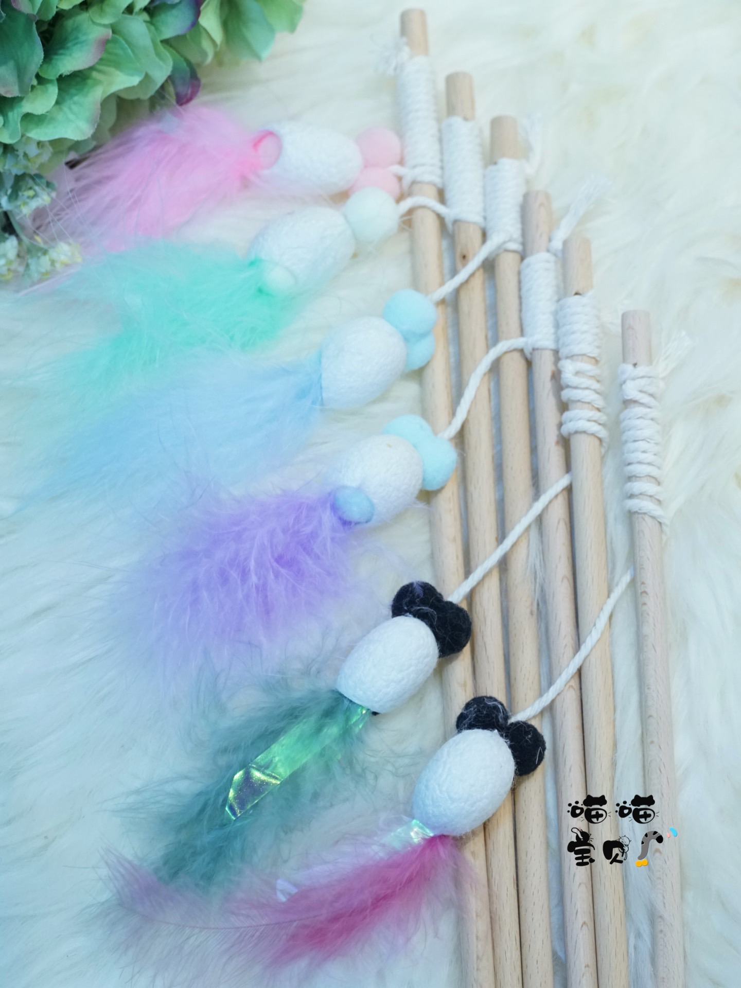 Meow baby cat Side shop cicada shell feather tease cat stick stimulate cat hunting nature cat tease cat stick