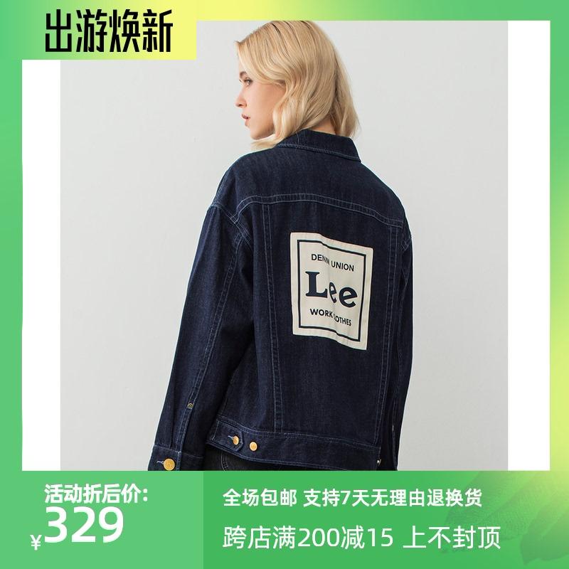 Lee女款20春秋新品深蓝潮流印花牛仔外套女夹克潮流L417705PN94R
