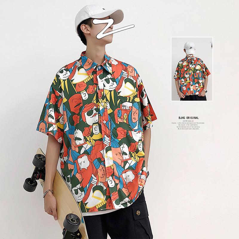 夏季ins港风夏威夷海滩花衬衫男短袖印花上衣韩国ulzzang网红衬衣