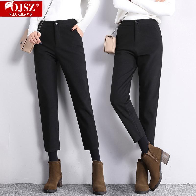 高腰女萝卜裤小羊羔绒加绒直筒裤休闲女裤韩版黑色职业裤西裤长裤