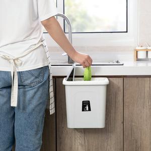 门背式垃圾桶创意弹盖式垃圾筒厨房带盖挂式分类垃圾篓带压圈纸篓