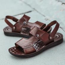 法亨拖鞋男士新款夏季一字拖沙滩鞋软底休闲透气防滑真皮凉鞋男鞋