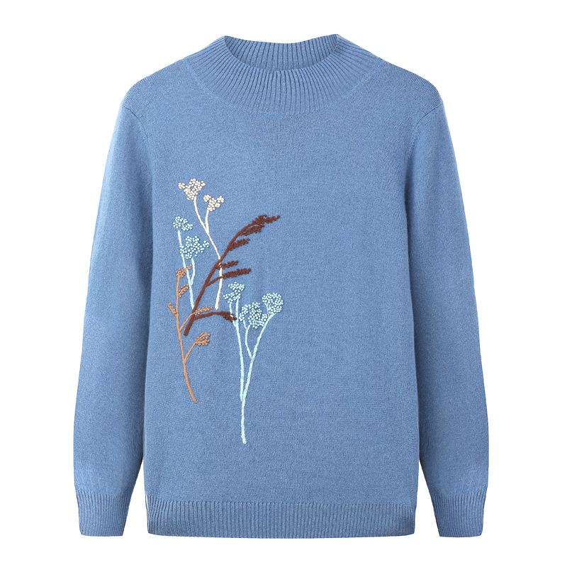 Inner Mongolia boutique middle-aged womens cashmere sweater half high collar Pullover solid color embroidery fashion all-around knitwear sweater