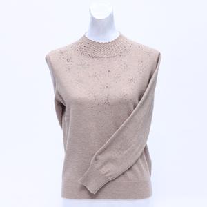 半高圆领羊绒衫女2019秋冬新款中年女士精品针织衫镶钻打底毛衣女