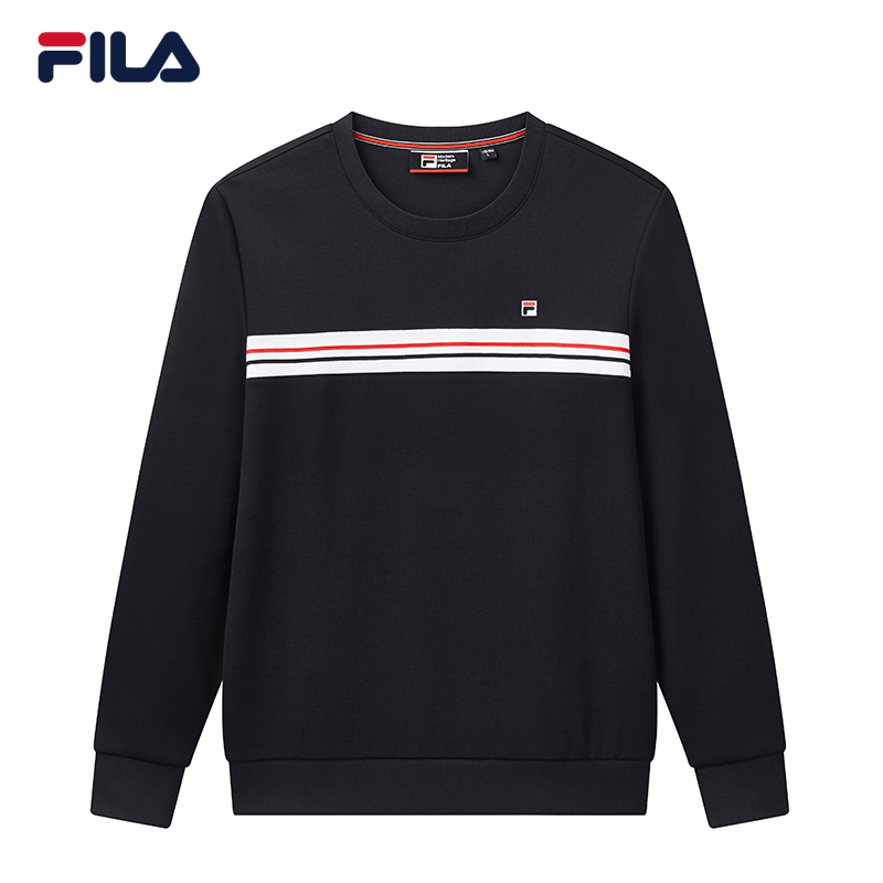 FILA official men's pullover sweater 2020 autumn simple striped versatile long-sleeved classic men's clothing