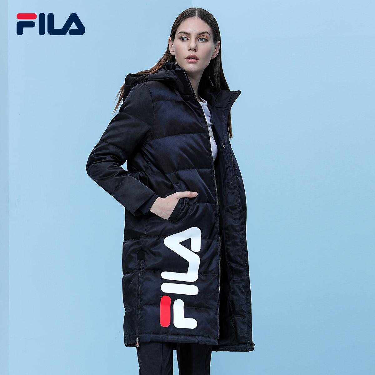 FILA фиджи лего круглый в этом же моделье пальто 2017 новый зимний осенний закрытый утолщённый в длинная модель женщины - белый куртка