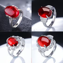 红宝石戒指女925银开口食指复古红刚玉祖母绿玛瑙指环镶钻石尾戒
