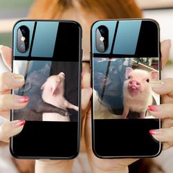情侣手机壳苹果X小猪iphone11玻璃镜面6s网红7plus苹果11pro趣味xs max男女款XR搞笑7个性秀恩爱8潮套promax