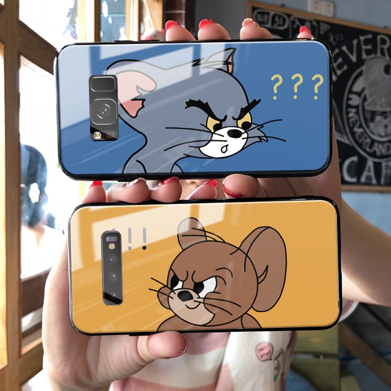 汤姆猫三星s10手机壳s8玻璃镜面s9猫和老鼠note8情侣note9个性创意note10有趣的s10e男女款s8+s9+s10+plus套图片