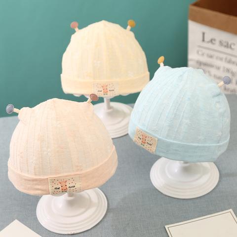 新生儿胎帽春夏季薄款0-3-6个月婴儿帽子婴幼儿棉初生男女宝宝1岁