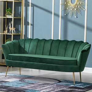北欧轻奢绒布沙发小户型客厅卧室双人三人网红沙发现代简约服装店