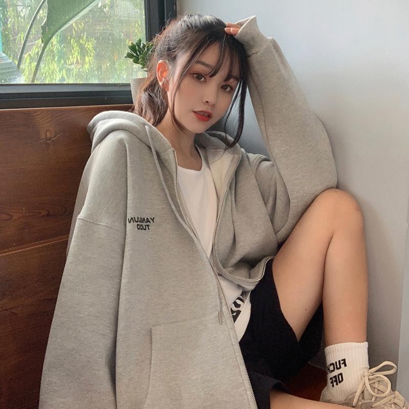 百搭长袖连帽卫衣女装2020年秋季新款韩版宽松中长款秋装上衣外套