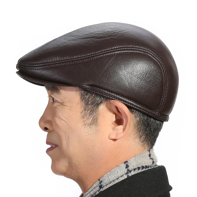 冬天中老年真皮帽子男士户外护耳冬季老年人保暖鸭舌男帽加厚贝雷