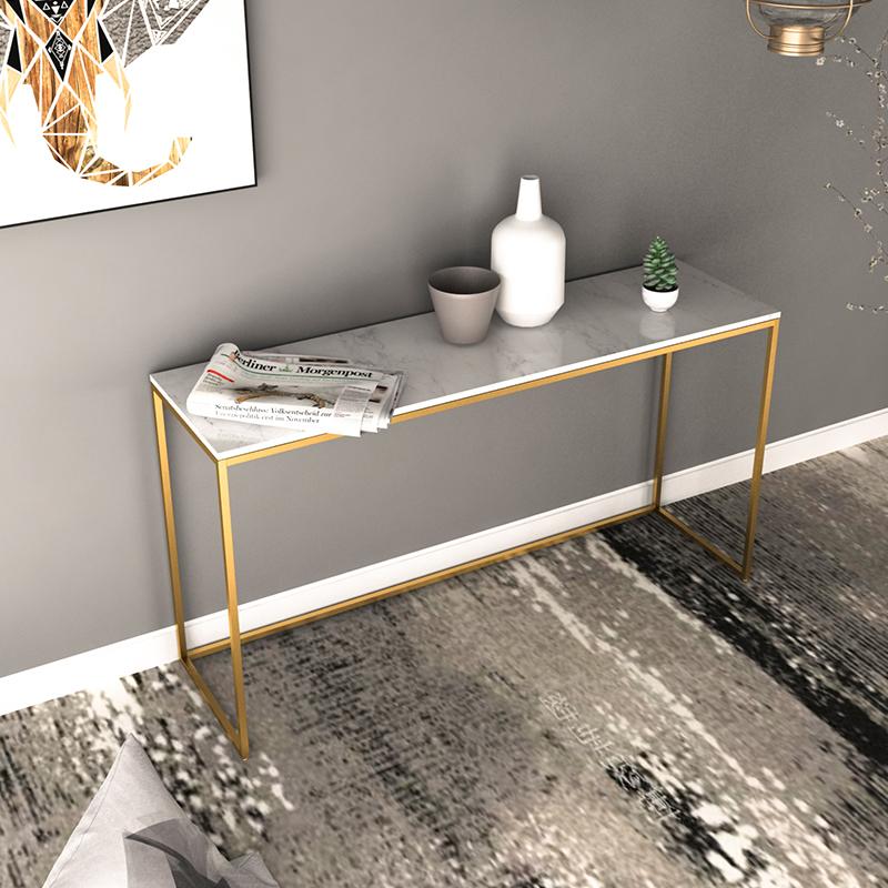 北欧简约铁艺大理石玄关桌铁艺沙发背几长条桌子墙边窄桌展示桌