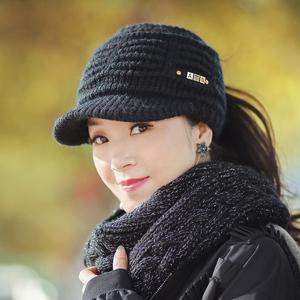 帽子女秋冬韩版百搭潮冬天时尚女士毛线帽冬季加绒保暖空顶鸭舌帽
