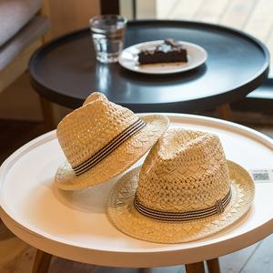 儿童草帽男童韩版夏天透气薄防晒亲子帽子母子一家三口遮阳太阳帽