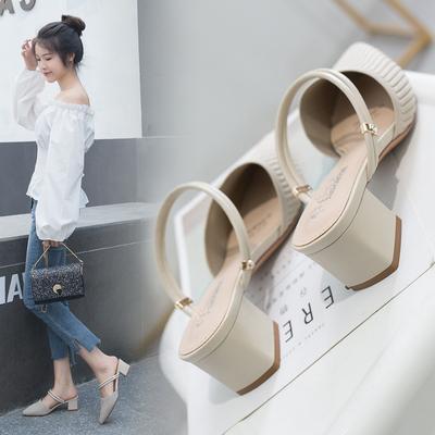 凉鞋拖鞋夏季2020新款小码33尖头粗跟单鞋包头中跟高跟大码41女鞋