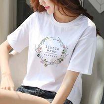 25岁大码夏季短袖t恤女装白色百搭气质胖mm宽松弹力时尚体恤上衣