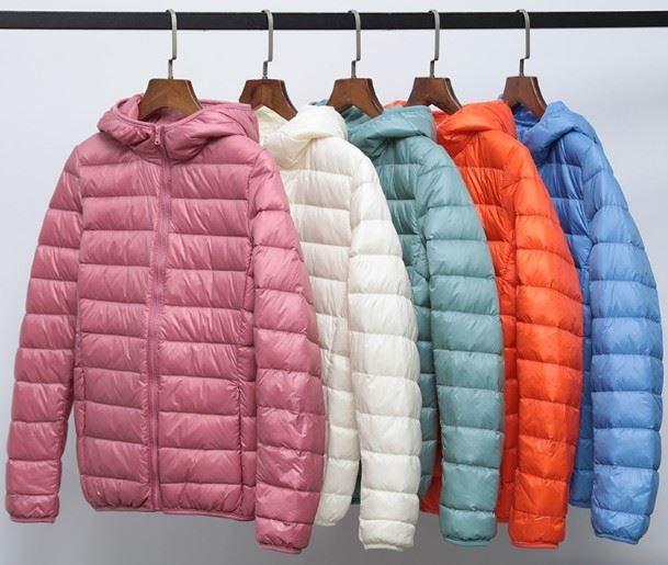 北面人产出口哥伦比亚秋冬轻薄羽绒服女短款连帽立领薄款轻便外套