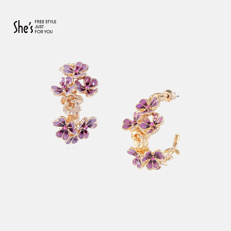 She Van Gogh iris flower series hand oil dripping profile temperament Earrings female temperament personality Earrings