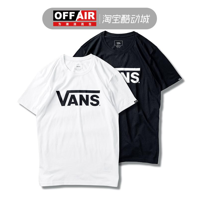 VANS范斯短袖打底T恤男女黑白LOGO经典款运动半袖VN0A33ZLWHT/BLK