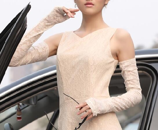 Sunscreen SLEEVE arm cover summer ultra-thin womens gloves sexy lace driving long ice silk sunshade cycling