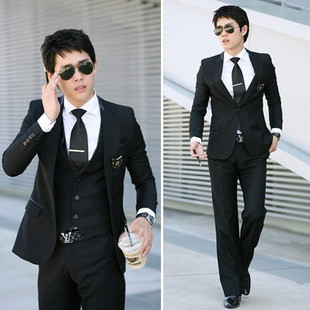 2012 Men s Slim Korean version of men s casual suits the groom best man wedding dress three piece suit