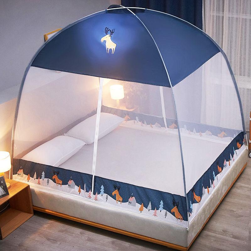 蒙古包蚊帐免安装1.8m床1.5m支架家用防摔学生宿舍1.2米纹帐子2.0