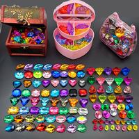 儿童宝石玩具钻石水晶七彩色塑料亚克力公主串珠女孩宝藏宝箱盒子