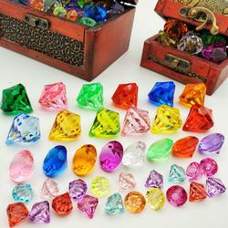儿童宝石玩具水晶亚克力塑料钻石七彩仿真珠宝水晶鞋宝藏箱百宝箱
