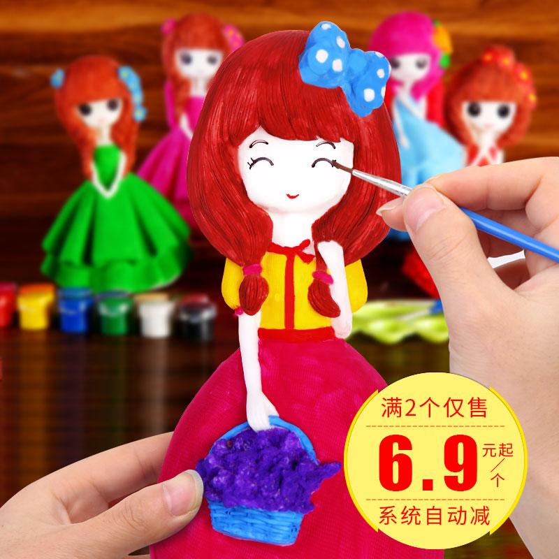 儿童涂色摔不坏石膏娃娃 存钱罐搪胶陶瓷白胚画模具彩绘玩具