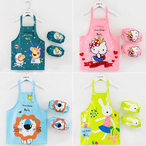 儿童围裙美术画画衣防水防脏厨房家用绘画罩衣卡通男童女孩带套袖
