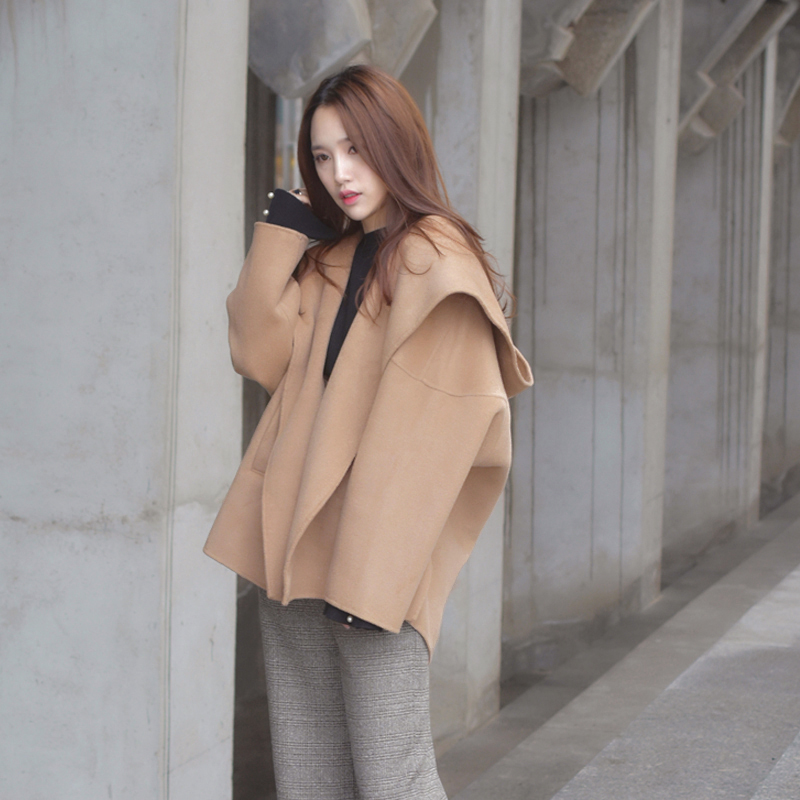 Korean thickened hooded wool double-sided tweed coat womens autumn winter 2020 short loose chic double-sided cashmere coat
