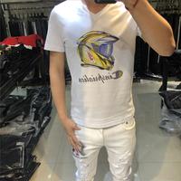 2020欧洲站夏季丝光棉V领潮牌印花烫钻潮流T恤男士修身欧货短袖潮