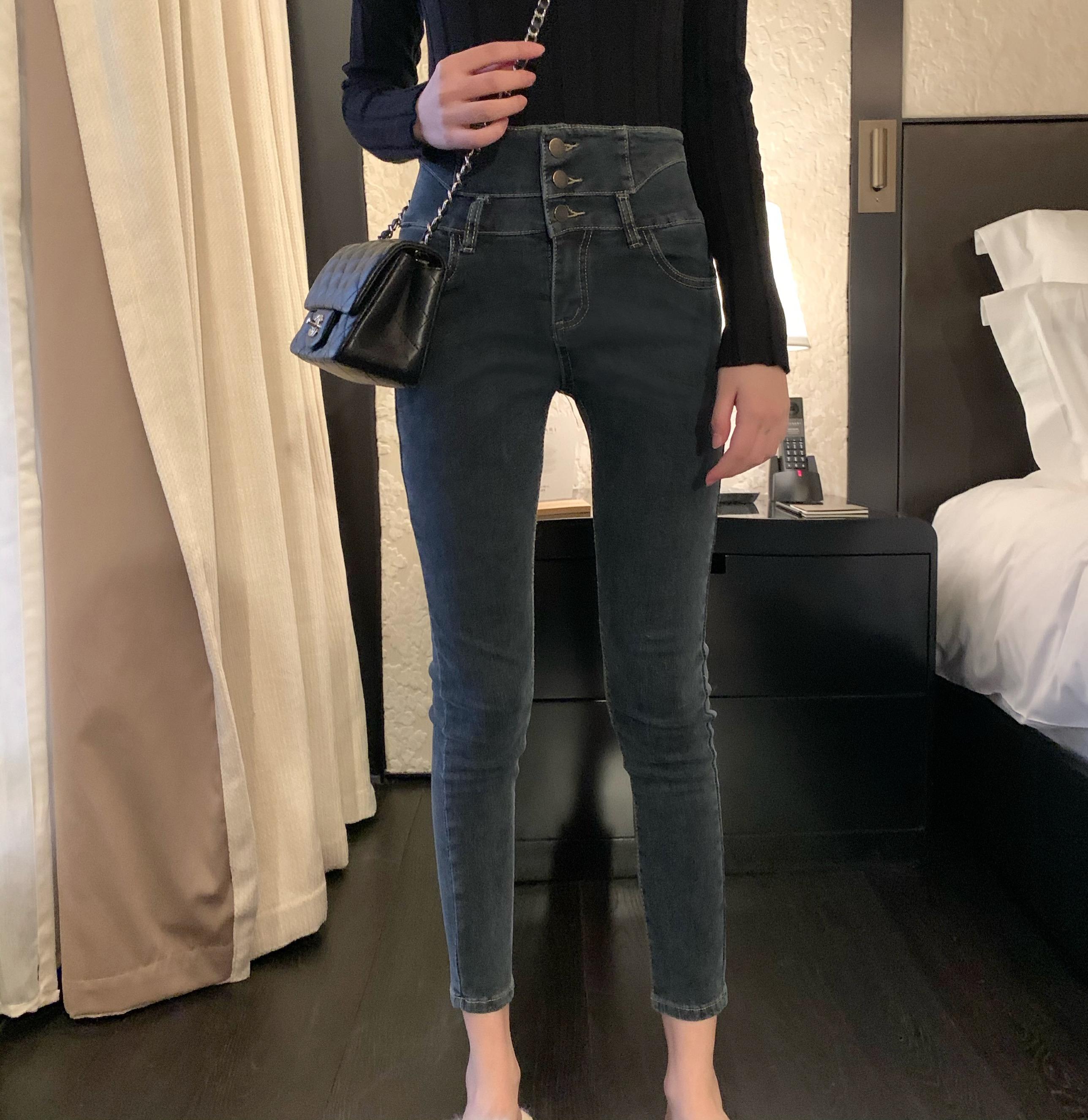 Sweetheart 穿出漫画腿 冬季显高显瘦腿长4米高腰牛仔裤铅笔裤女