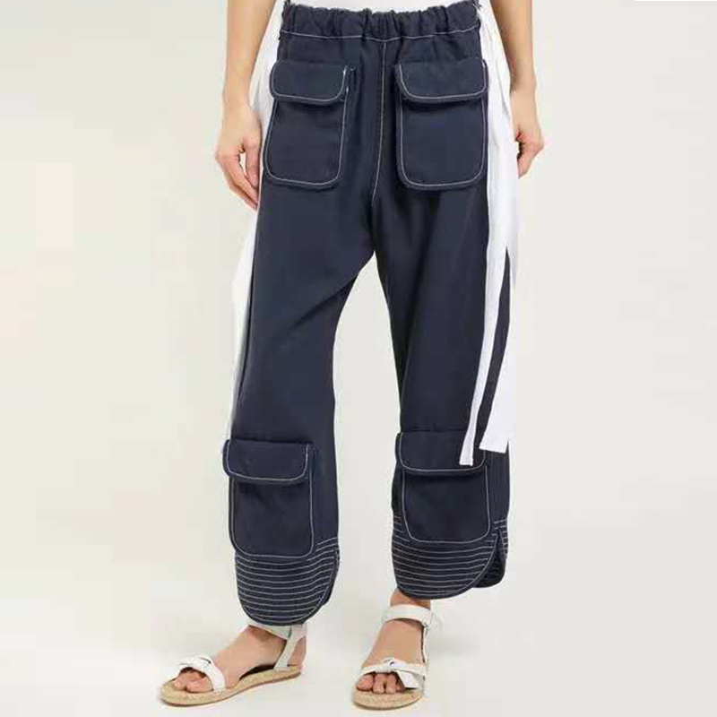 Denim work wear jeans womens loose BF Multi Pocket dad pants wide leg 2019 new versatile high waist 9 points