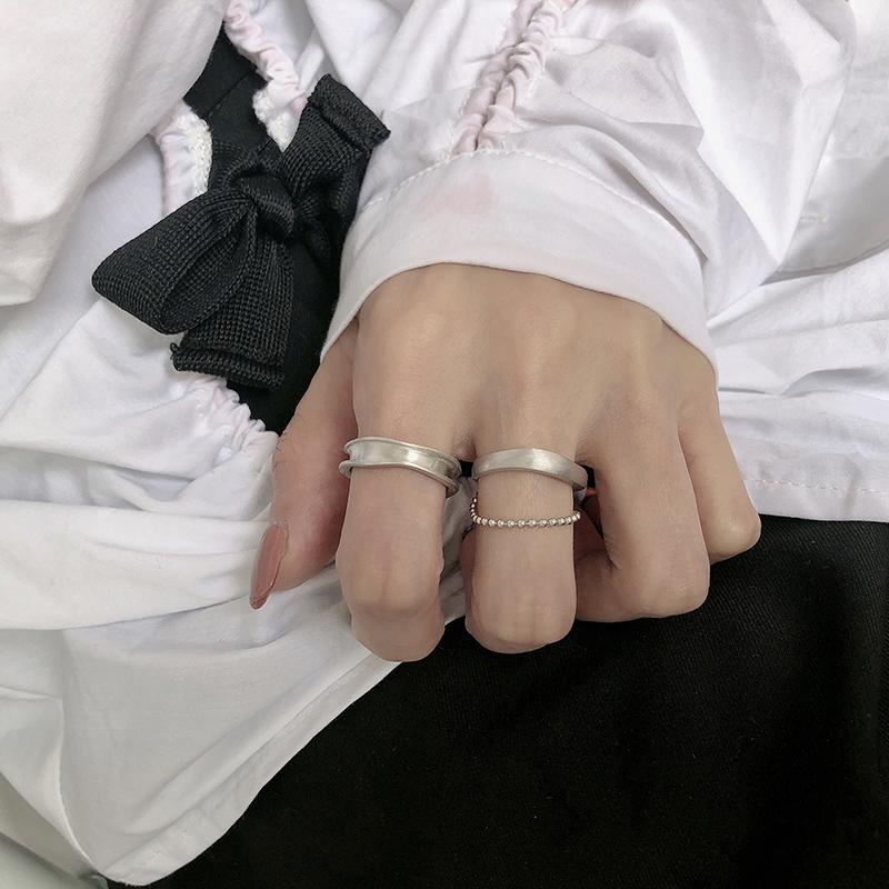 韩版S925纯银戒指女简约不规则凹凸面拉丝圆珠戒指个性指环食指戒
