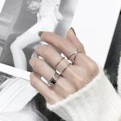 日韩版S925纯银戒指X交叉开口光面立体开口指环简约设计款银戒子