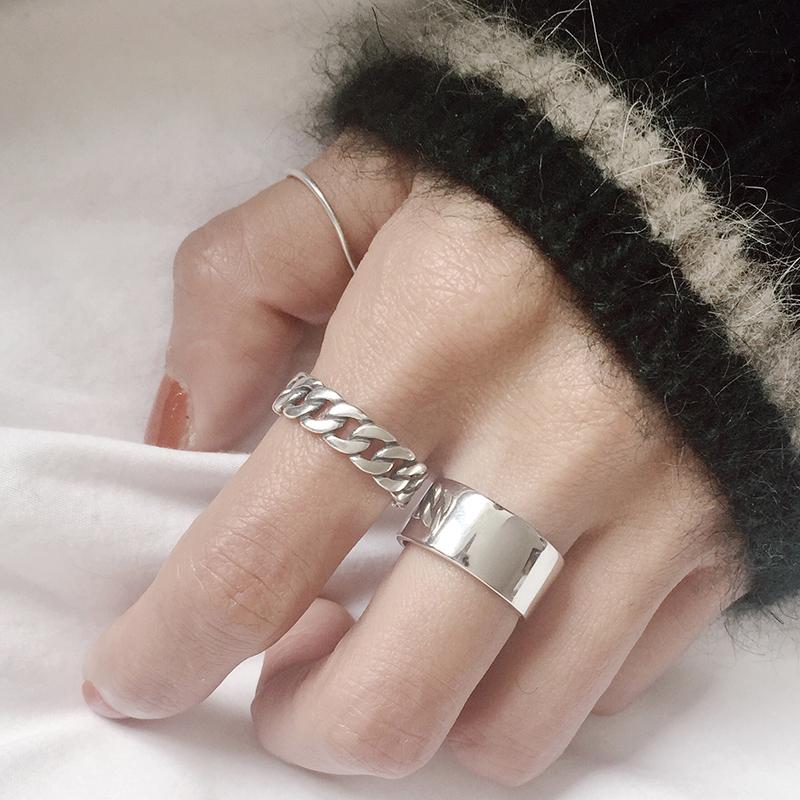 韩国简约复古做旧925纯银烧银工艺链条麻花戒指开口戒指环