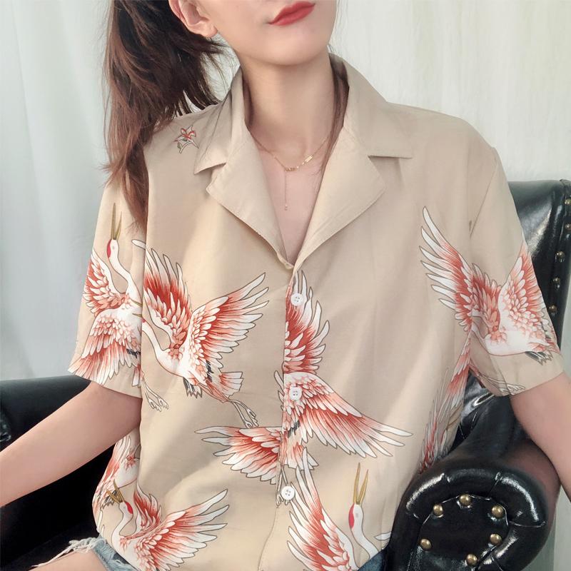 夏装女装韩版复古风仙鹤印花图案西装领宽松五分袖衬衣上衣学生潮