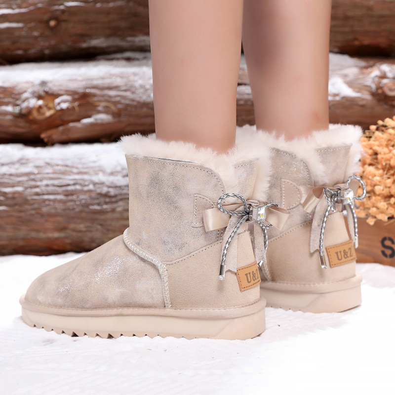 New winter sheep fur all in one snow boots womens trendy bright leather bowknot anti slip warm medium boots cotton shoes