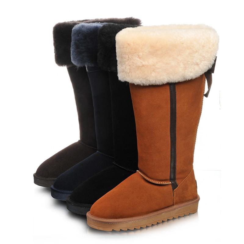 新款韩版千颂伊高筒过膝加厚保暖羊毛雪地靴女长筒真皮蝴蝶结棉鞋