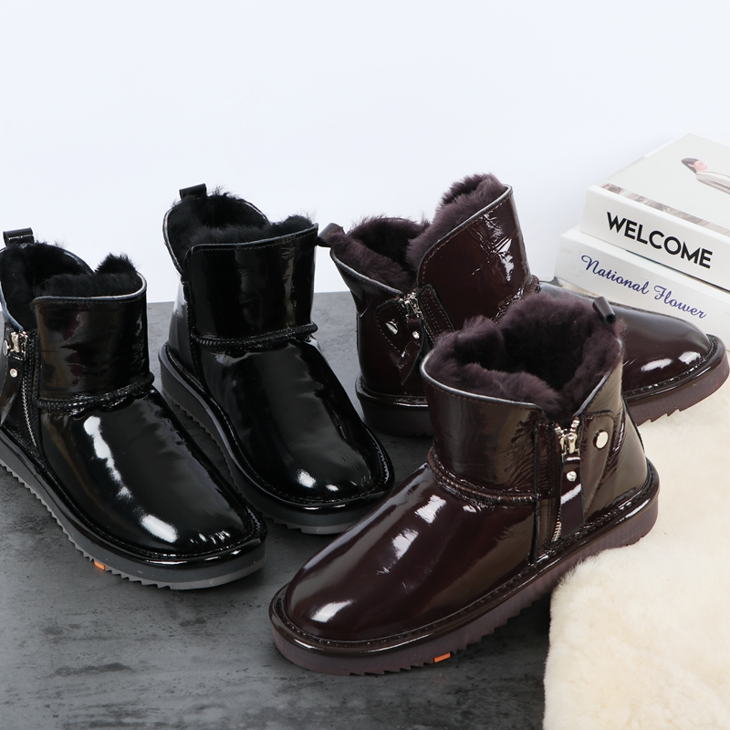 2020 new fashion bright face waterproof cowhide snow boots womens thickened fur integrated anti slip middle tube Korean fashion boots