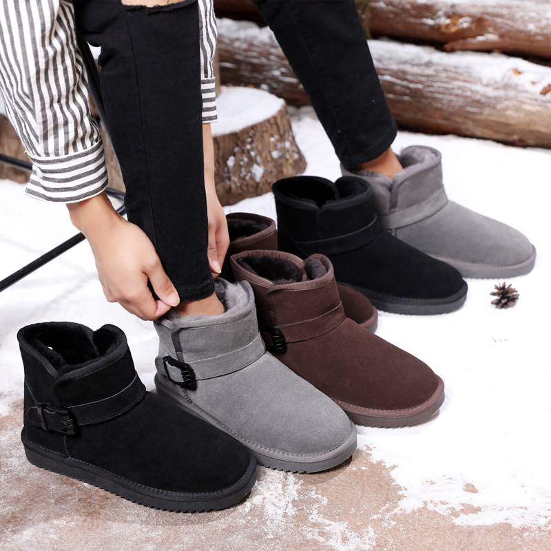 New type mens snow boots with warm wool leather in winter