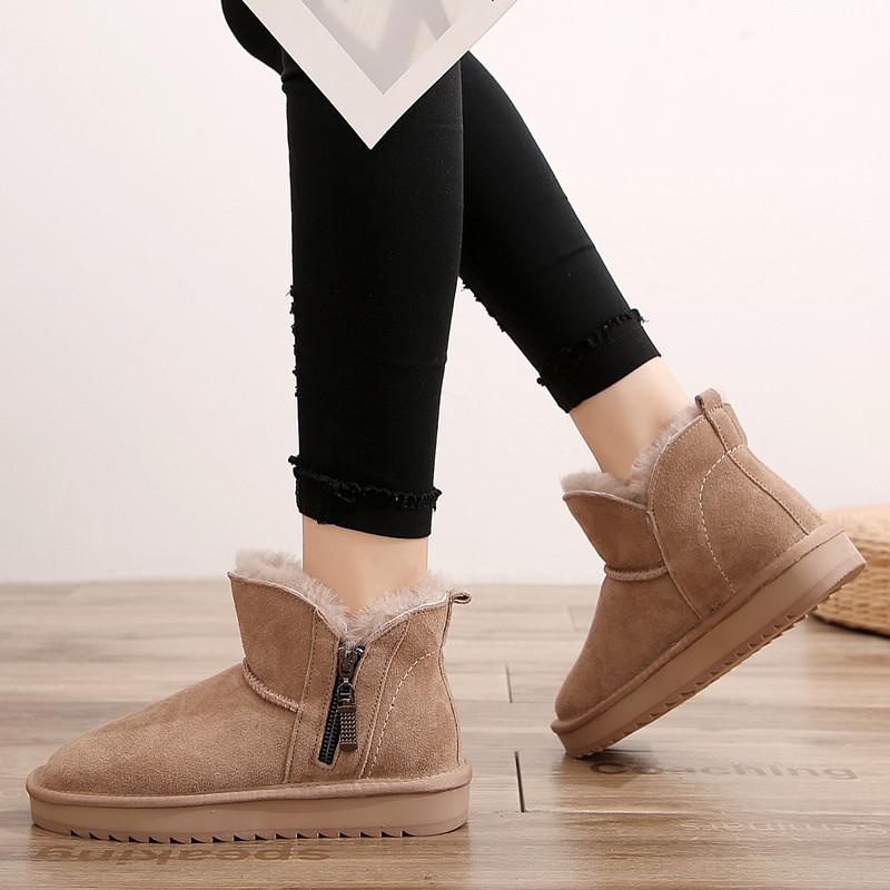 U & z2020 snow boots womens new fashion short tube warm fur integrated leather winter anti slip bottom zipper cotton shoes