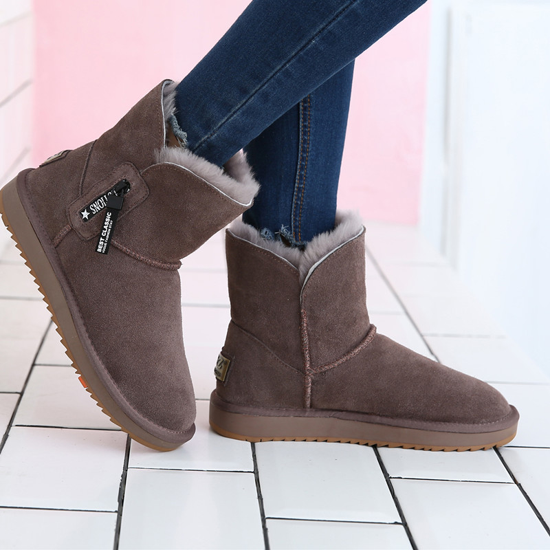 U & Z new winter sheep fur integrated snow boots womens middle tube anti slip soft bottom zipper leather thickened warm cotton boots
