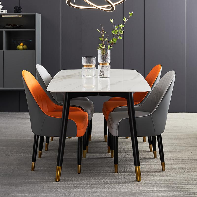 高端轻奢岩板餐桌椅组合现代简约2021新款小户型家用大理石实木桌
